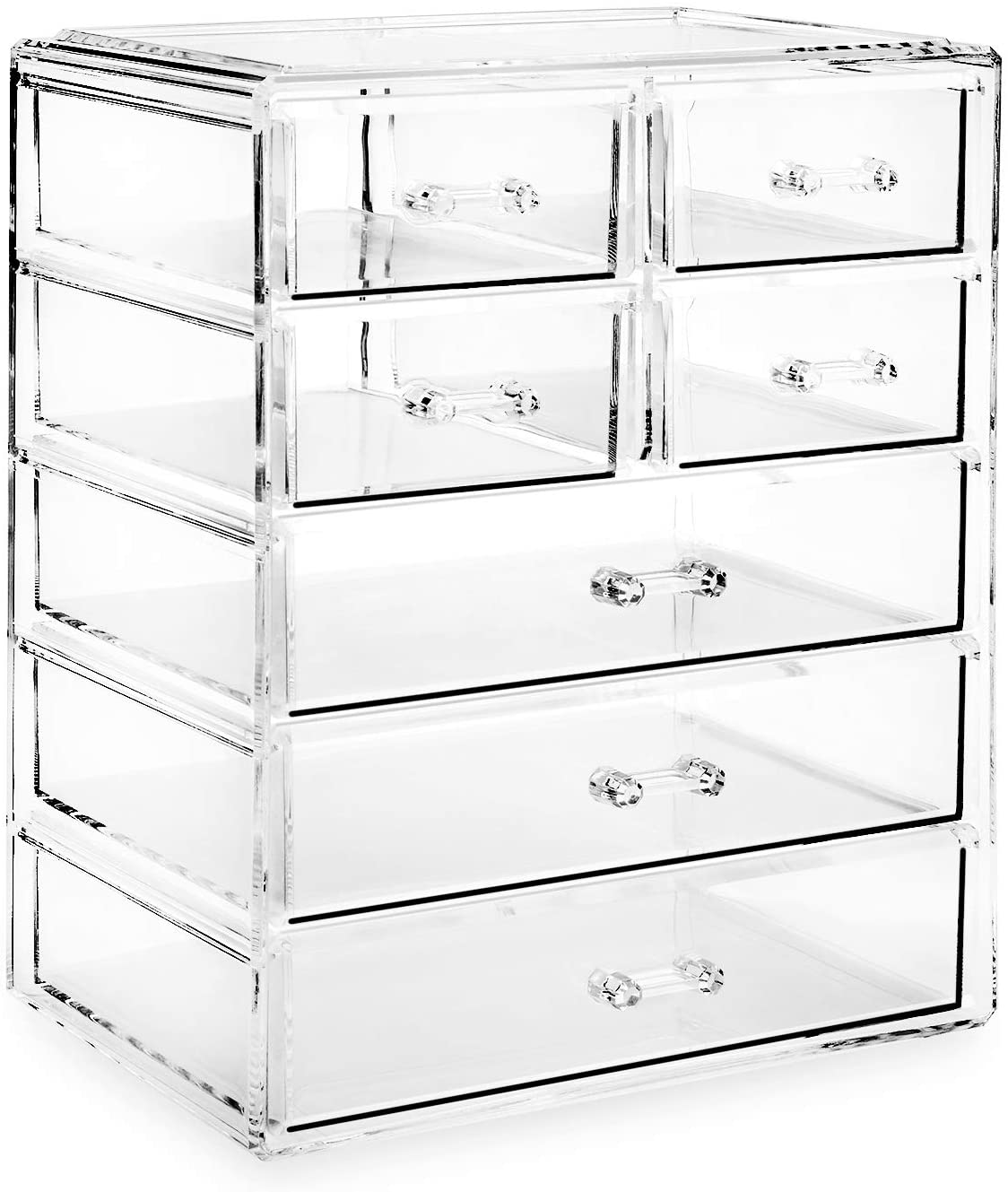 Casafield Acrylic Cosmetic Makeup Organizer & Jewelry Storage Display Case - 3 Large, 4 Small Drawer Set - Clear