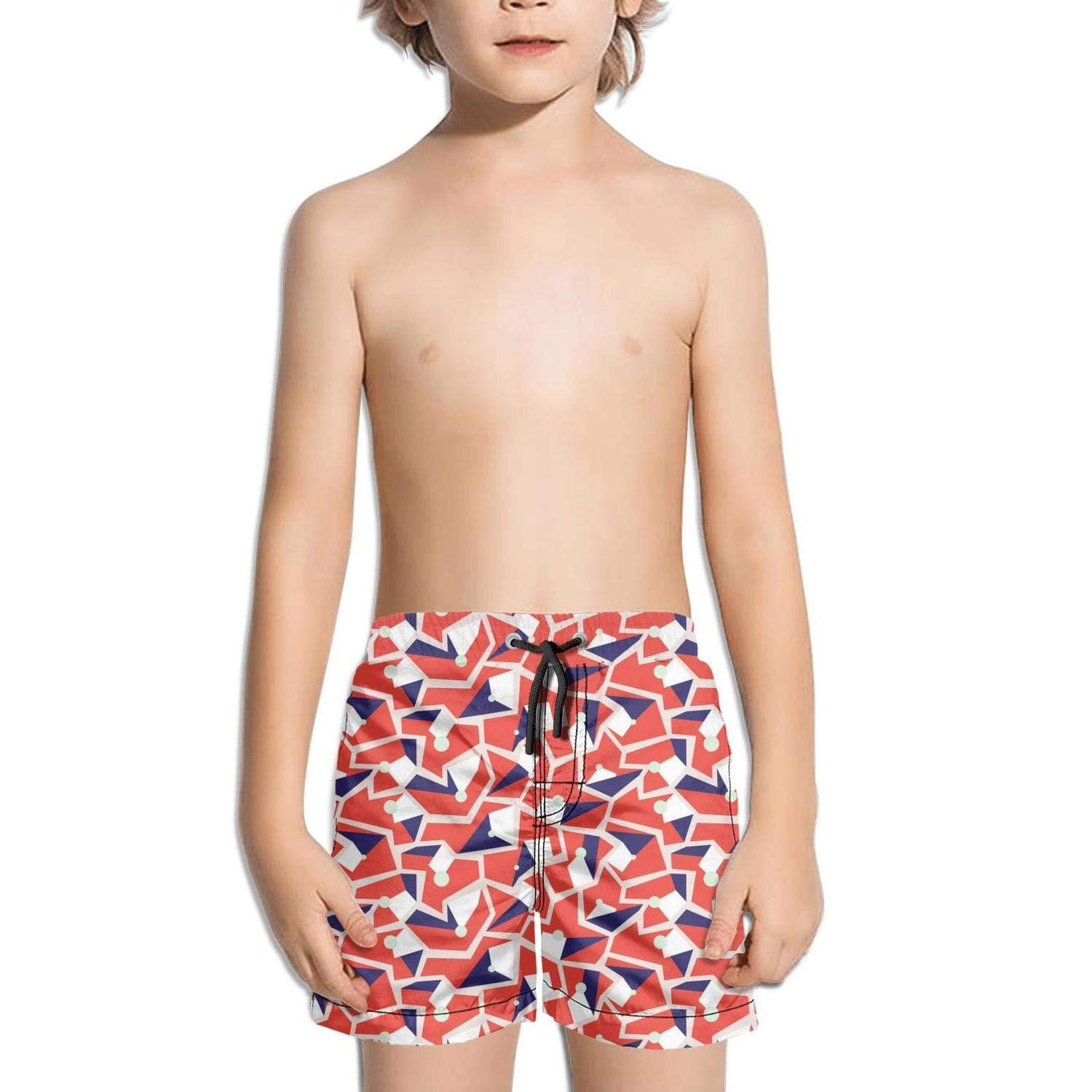 Geometric Memphis Style Modern Colorful Fashion Swim Trunks BingGuiC Boys Quick Dry Shorts