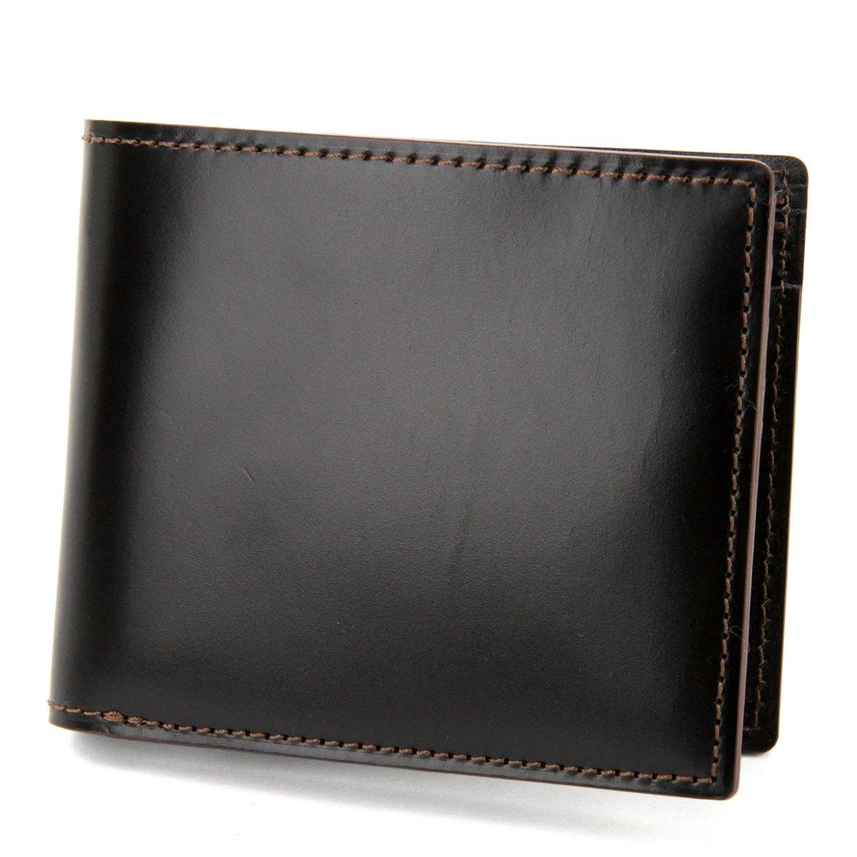 [エルゴポック] 二つ折り財布 コードバン 本革 CVW-WT2 メンズ B0721RQH7P ブラック ブラック