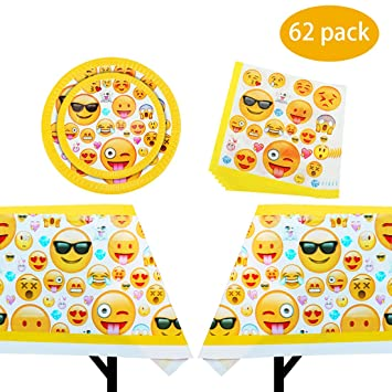 62 Pack Emoji Birthday Party Supplies Including Plates Napkins And Tablecloth
