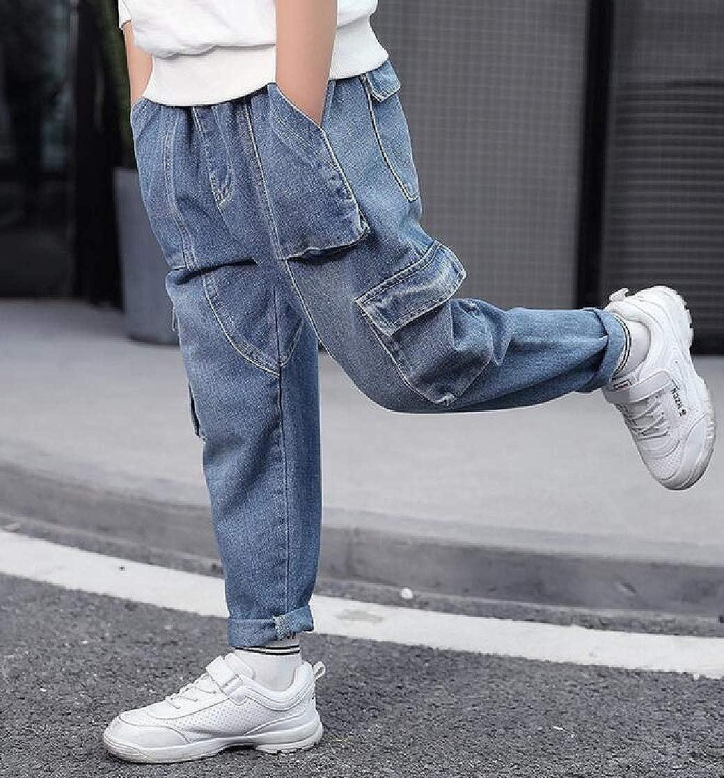 Macondoo Boys Jeans Slim All-Match Denim Trousers Pocket Pants