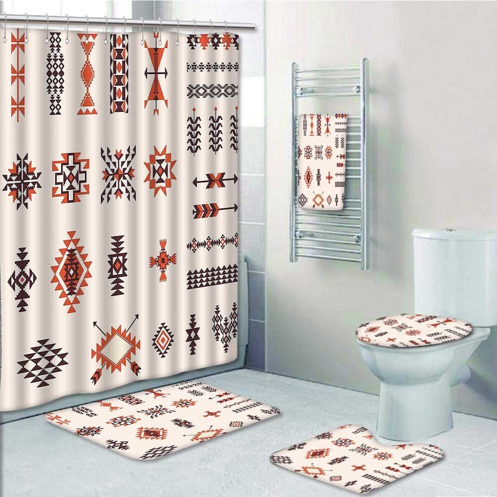 8-piece Bathroom Set-Includes Shower Curtain Liner,Native of