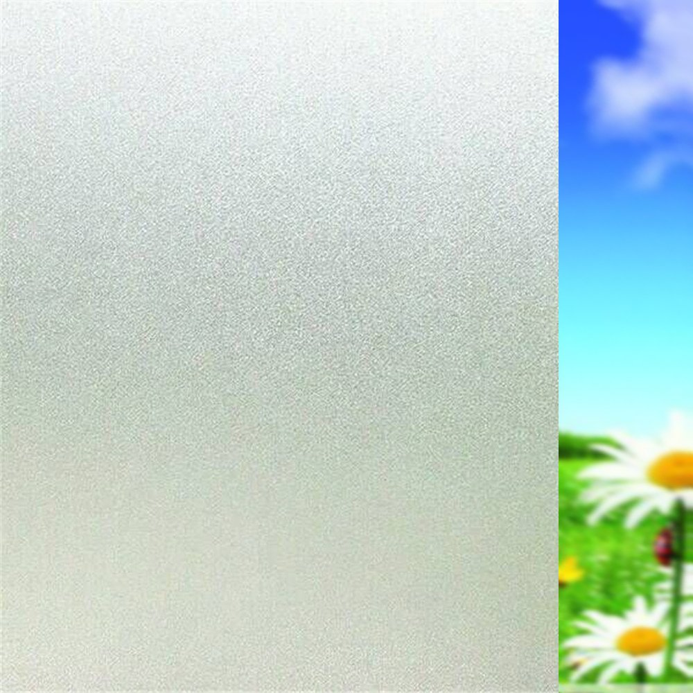 Avieson Privacy Frosted Matte White Window Film, No Glue Static Cling UV Protection Home Decoration Home Kitchen Office Bathroom Living Room Smooth Glass (35.4x78.7 inch)