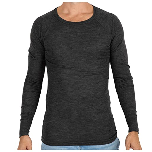 MERIWOOL Mens Merino Wool Lightweight Form Fit Baselayer Pullover Top