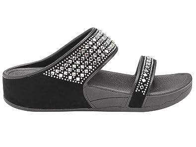 45b9a590fa5 Ladies DLP507 Dunlop Low Wedge Fit Flip Flop Peep Toe Slip On Double ...