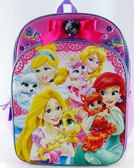 Disney Palace mascotas y princesas mochila con corazón púrpura