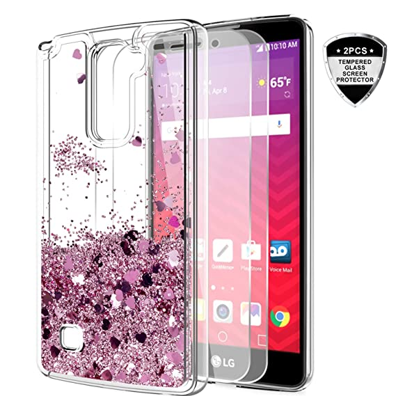 cheaper 4a150 0b119 LG Stylo 2 V/Stylo 2/ Stylo 2 Plus/Stylus 2 Case Tempered Glass Screen  Protector [2 Pack],LeYi Glitter Shiny Cute Girls Women Liquid Clear TPU ...