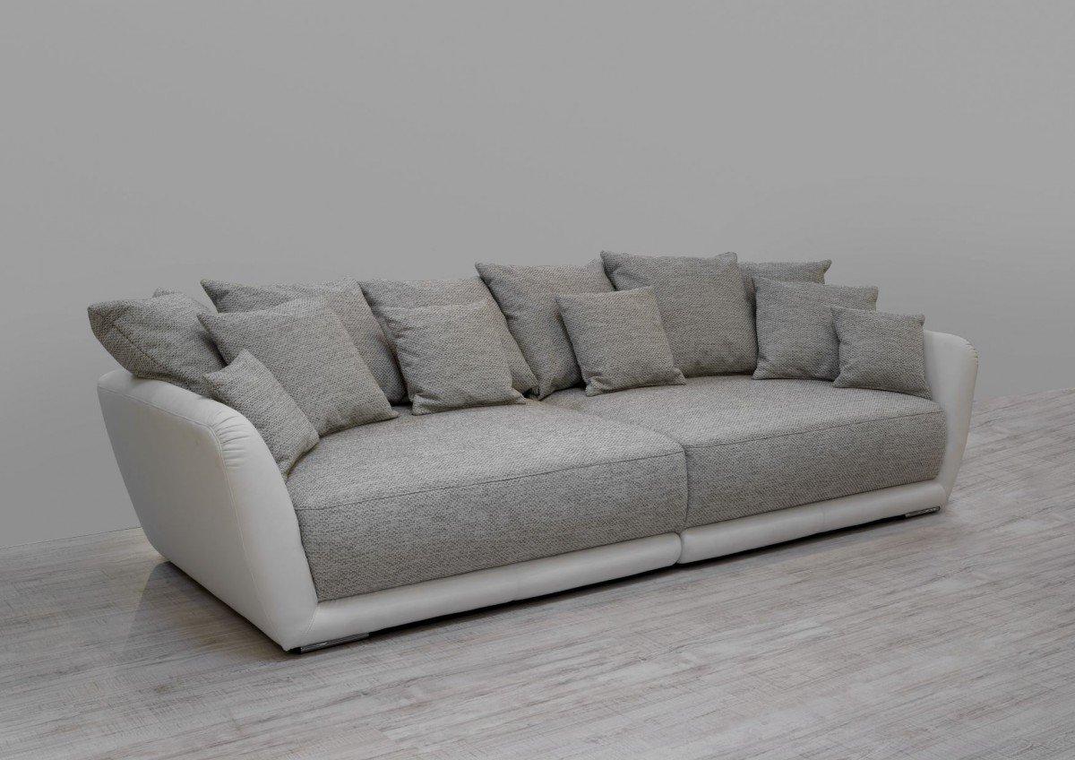 Dreams4Home Big Sofa 'Chios', Wohnlandschaft XXL Couch Garnitur Polstersofa beige / weiß