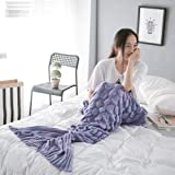Holidayli Mermaid Tail Blanket for Adults Crochet Snuggle Sofa Throws with Knit Pattern Soft Coutch Blanket Purple 6.4x 3.0 feet (Purple)