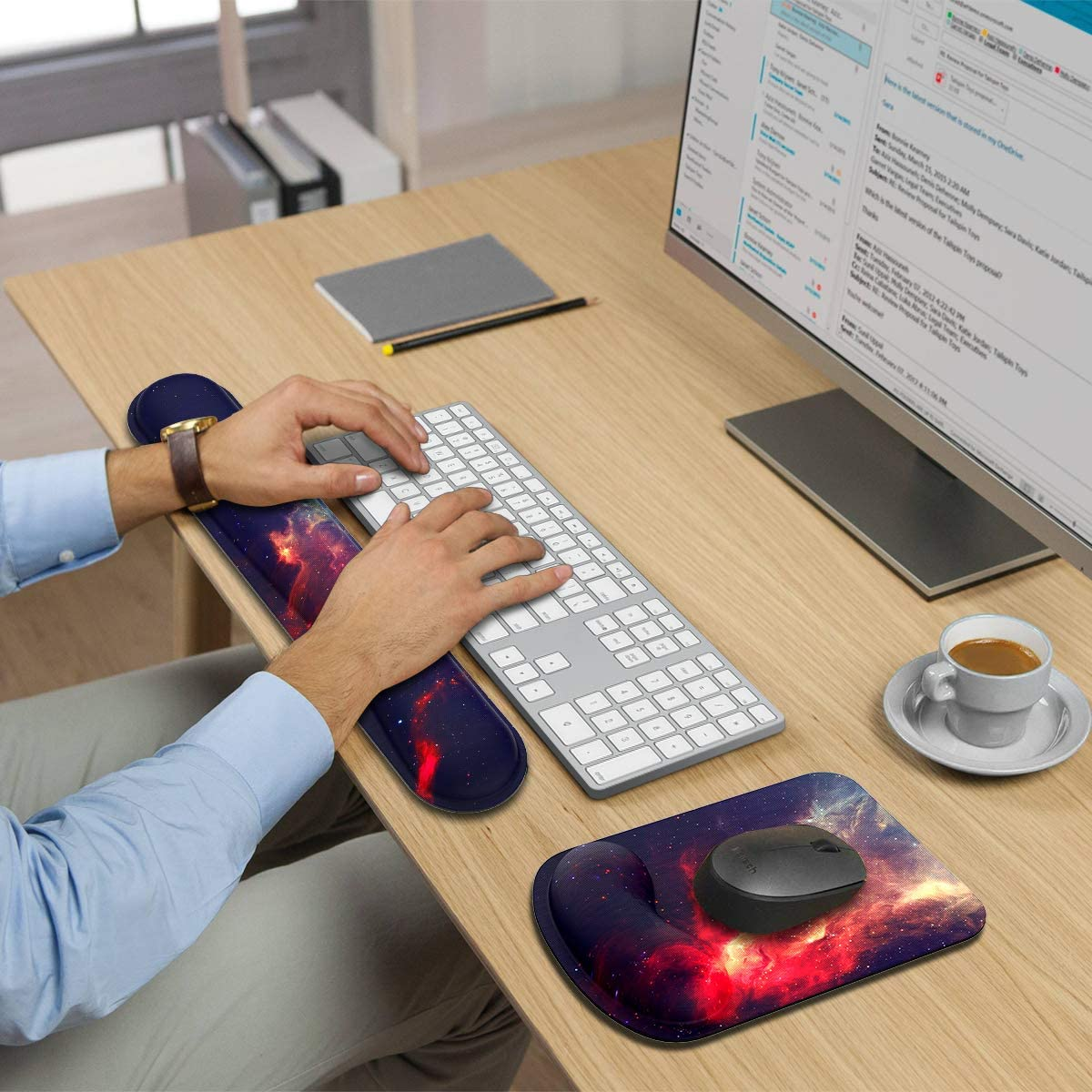 Green, Wrist Rest Supggear Keyboard Wrist Rest Pad and Mouse Wrist Rest Support Gaming Ergonomic Keyboard Wrist Cushion Support Set with Memory Foam Anti-Skid for for Office Laptop Computer
