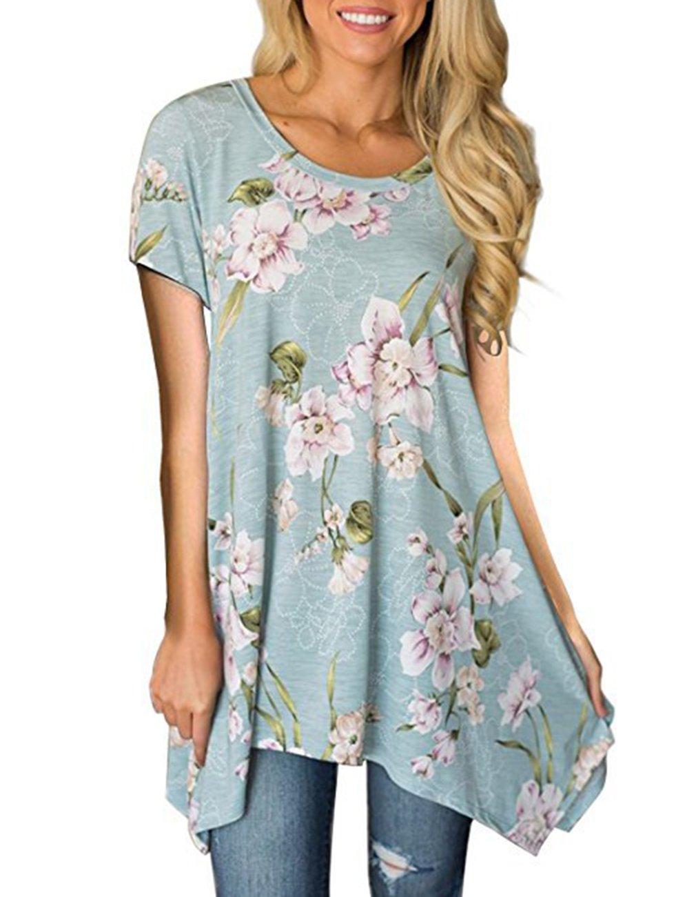 Omerker Women's Floral Irregular Hem Tunic Tops Summer Short Sleeve Blouse T Shirts (Large, Light Blue)