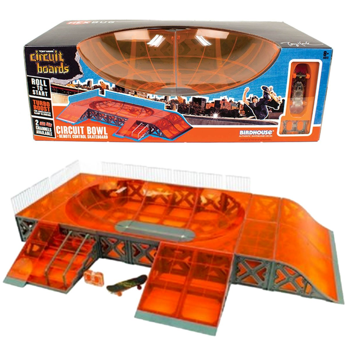 HexBug Year 2015 Tony Hawk Circuit Boards Set - CIRCUIT BOWL with Roll In, Inner Bowl, Flat Bank, Stairs & Rails Plus Remote Control Skateboard