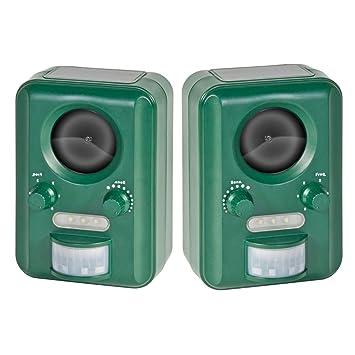 VOSS.sonic 2000 Repelente Ahuyentador de Gatos a Pilas (Solar) en Pack Doble, Ahuyentador de roedores y animales salvajes con ultrasonido y flash premium: ...