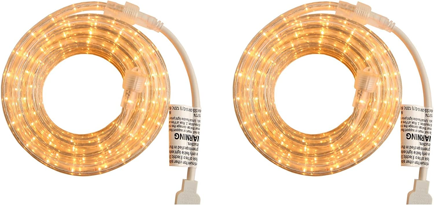 Indoor and Outdoor Rope Lights - 18 Feet, 216 Clear Incandescent Rope Light - Pack of 2 (Total 36 Feet Length)