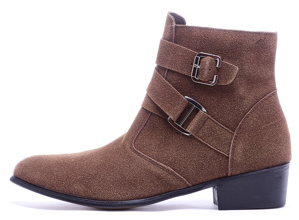 Odema Men's PU Leather Suede Pointed Toe Zipper Buckle Chelsea Ankle Boots by Odema (Image #2)