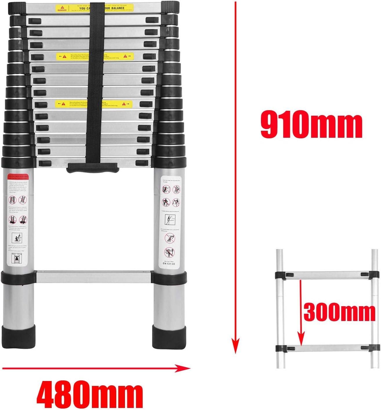 150 kg//330 Pfund Belastbarkeit Haushaltsleiter 4,4m Teleskopleiter Ausziehleiter Klappleiter Rutschfester Stehleiter Mehrzweckleiter aus hochwertiges Aluminium