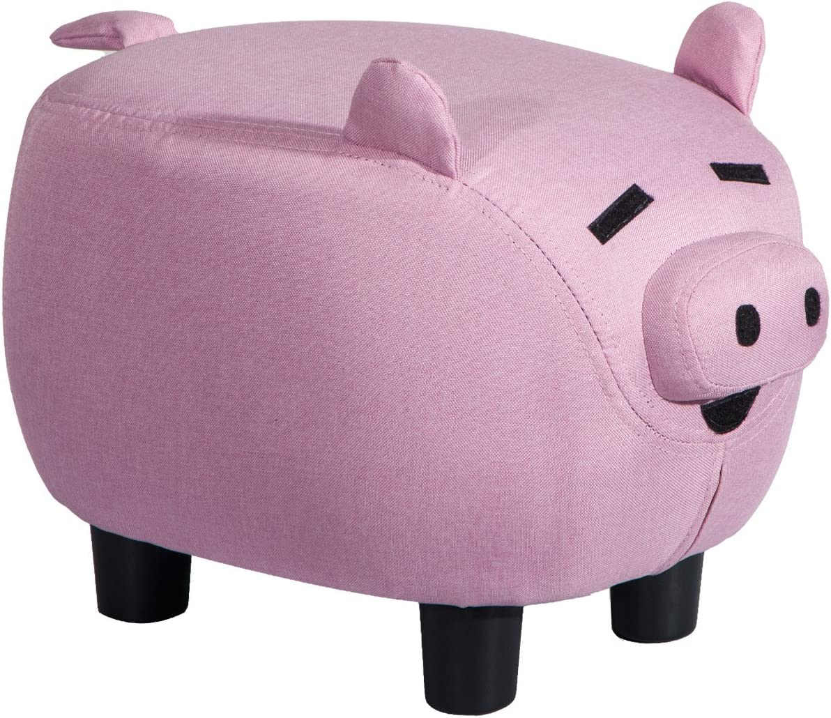 Pink Storage Ottoman Foot Stool, 13 Height Pig Shaped Upholstered Ride-on Pouf, Easy to Assemble, Retro Style Pink Pig Without Storage