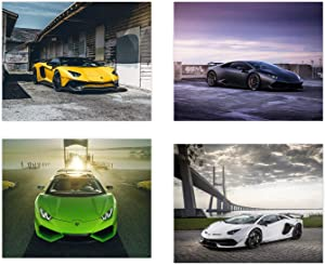 Lamborghini Poster - Set of 4 Unframed (10x8 inches) Sports Car Posters - Aventador - S Supercar - Canaan - Huracan - Perfect Wall Art Gift Exotic Supercars - Set 2