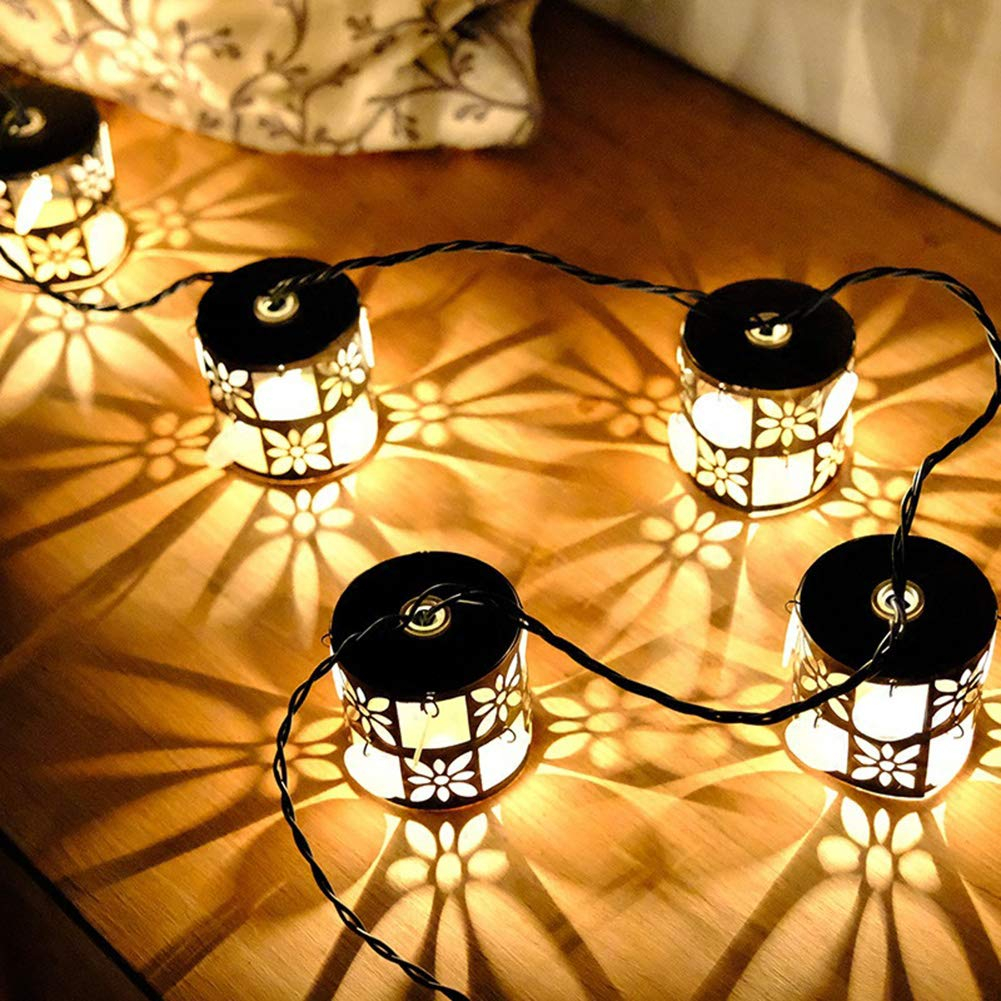 Yaoijin 3m/9.85in Vintage Bronze Iron Nets Lanterns Plug-in String Lights. Great For Indoor/Outdoor Decoration. Best Ambience Decorative Lights. Warm White Glow.