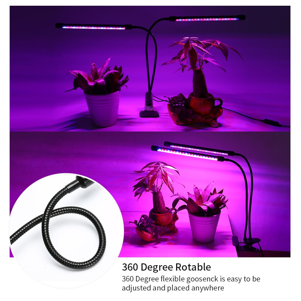 Ranipobo LED Grow Light 18W Dual Head Timing Plant Lights with 36 LED Dimmable 8 Levels Grow Lamp Bulbs Flexible 360 Degree Gooseneck for Indoor Plants Hydroponics Greenhouse Gardening
