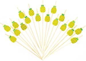 "PuTwo Cocktail Picks Handmade Bamboo Toothpicks 100pcs 4.7"" in Yellow Pineapples"