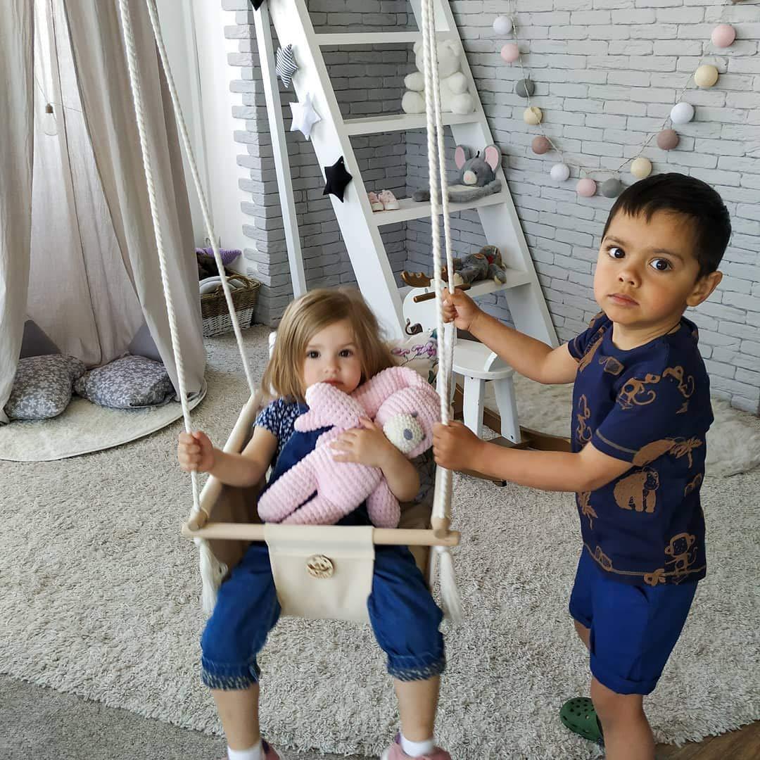 Handmade Indoor baby hanging swing Only eco materials sturdy frame and ropes