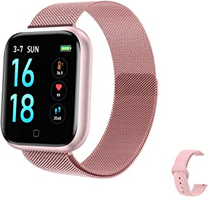 2020 Latest Smart Watch, Fitness Tracker with Temperature/Heart Rate/Sleep/Steps Monitor Compatible for iPhone Samsung Android, Smartwatch for Men Women(Pink)