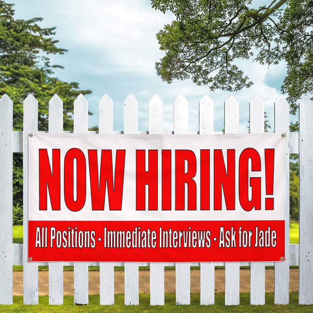48inx96in Red White Business Hiring Marketing Advertising Red Vinyl Banner Sign Now Hiring One Banner Multiple Sizes Available 8 Grommets