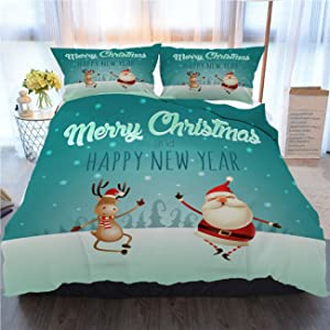 OTTOSUN Christmas Bedding 3 Piece Duvet Cover Sets,Merry Christmas and Happy New Year Happy Expression of Santa,Home Luxury Soft Duvet Comforter Cover,Twin