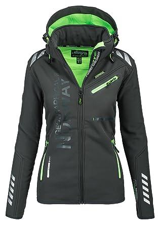 5fa0733019242 Geographical Norway Damen Softshell Funktions Outdoor Regen Jacke Sport   GeNo-24-Dunkelgrau-