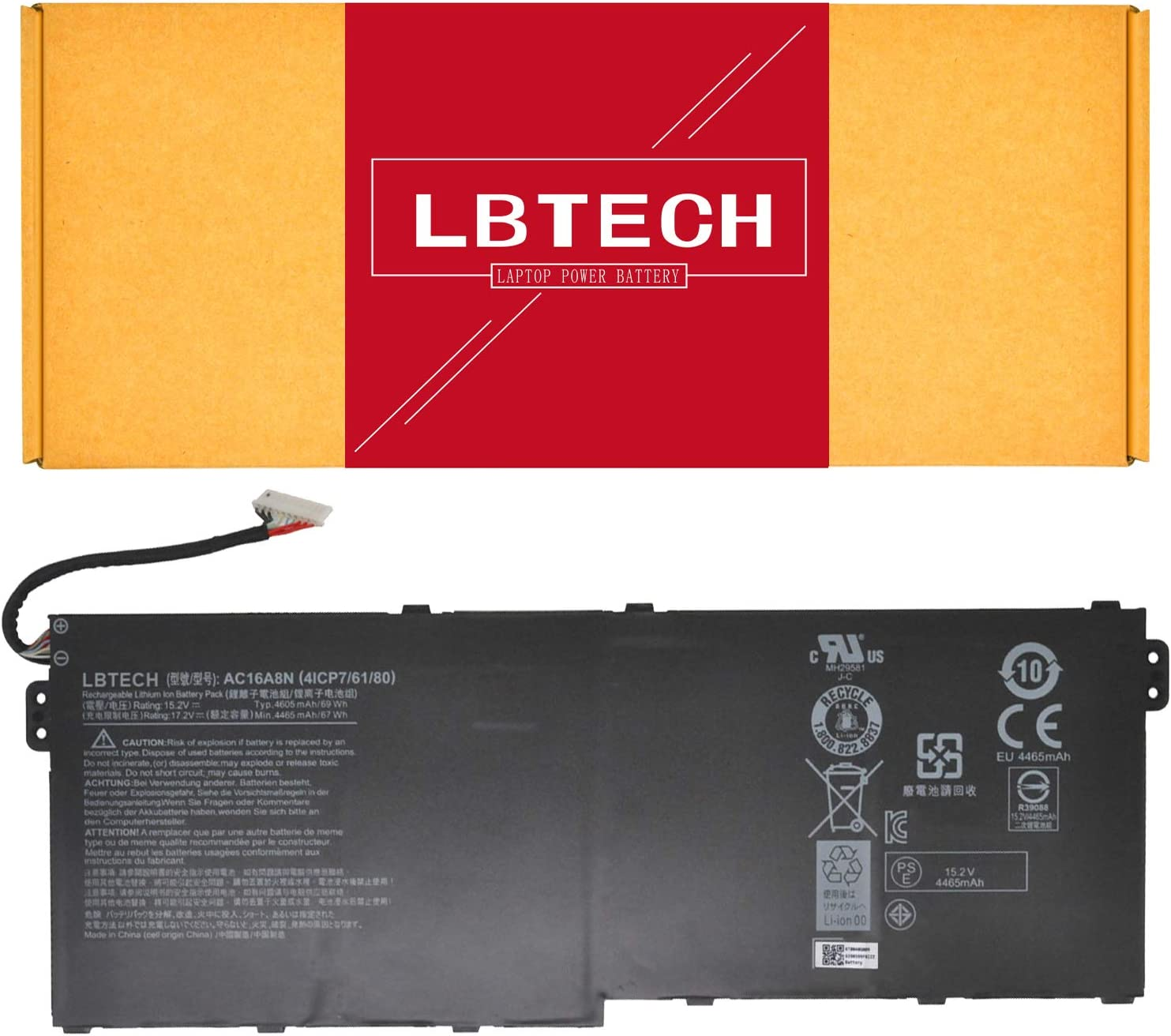 LBTECH AC16A8N Compatible Laptop Battery Replacement for Acer Aspire V15 V17 Nitro BE VN7-593G VN7-793G Series 4ICP7/61/80 15.2V 4605mAh/69Wh