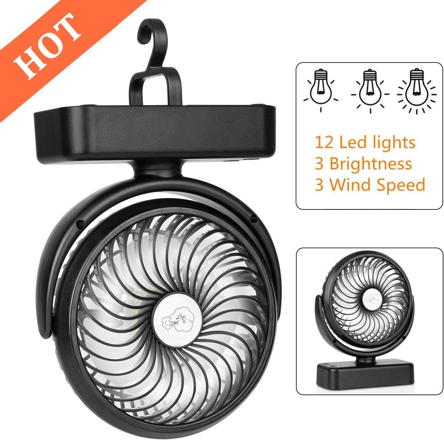 COMLIFE Ventilador de Escritorio Portátil con Luces LED para Camping con Batería Recargable 4400mAh 3 Velocidades Rotación de 360 ° Mini Fan Personal para el Hogar, Exterior, Oficina, Camping