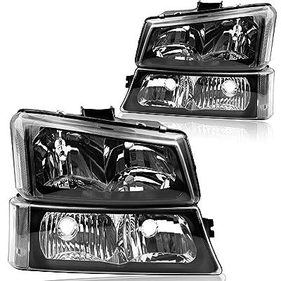 OEDRO Headlights Compatible with 2003-2006 Chevy Silverado 1500 2500 3500 & 2003-2006 Chevy Avalanche 1500 2500 & 2007 Silverado 1500/HD 2500/HD 3500 4-Dr / 2-Dr Blk Housing Headlamps, 2-Yr Warranty: Automotive