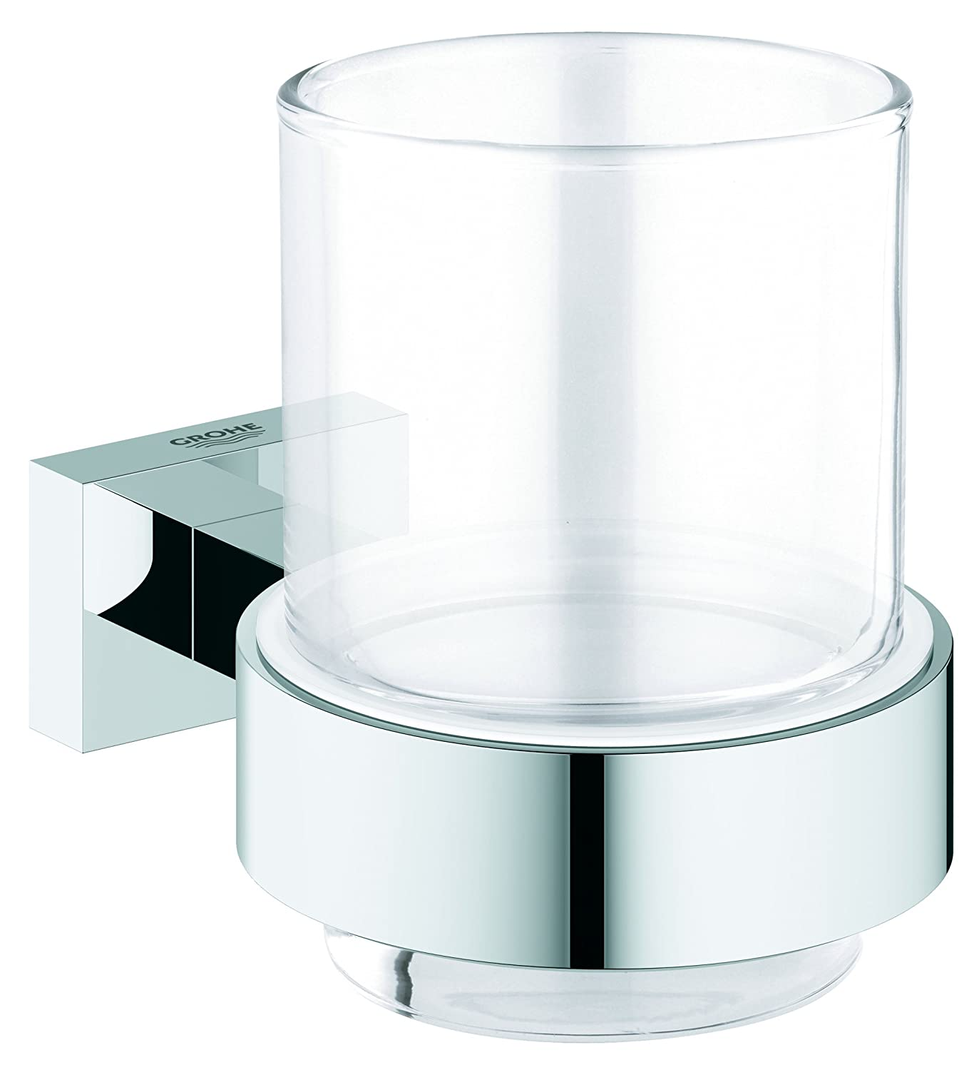 Grohe 40755001 Essentials Cube Glass Holder with Glass - Silver