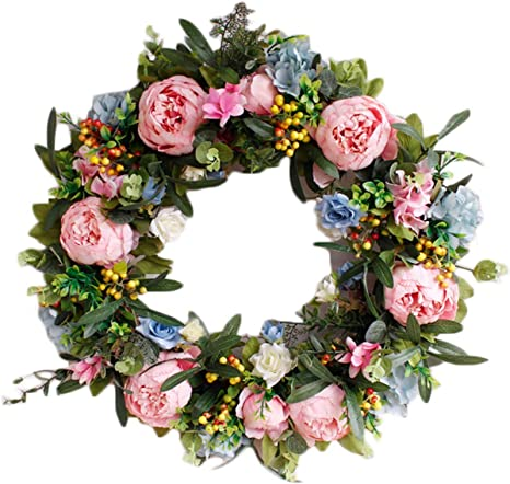 Spring Flower Wreath Summer Wreath Home Decor Wreath Rose Flower Wreath Front Door Wreath Pink Flower Wreath