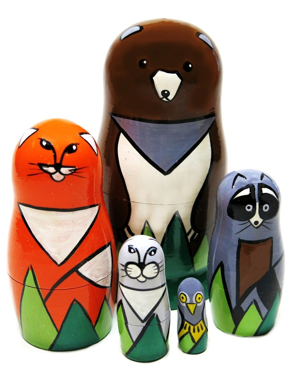 European Forest Animals 5-Piece 4.5'' Russian Nesting Doll Kids Educational Wooden Toy Set