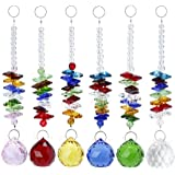 Aiskaer Beautiful Colorful Crystal Ball Pendant Chandelier Decor Hanging Prism Ornaments,Crystal Ornament Ball Suncatcher Window Prisms,Feng Shui Faceted Ball (Colorful-E)