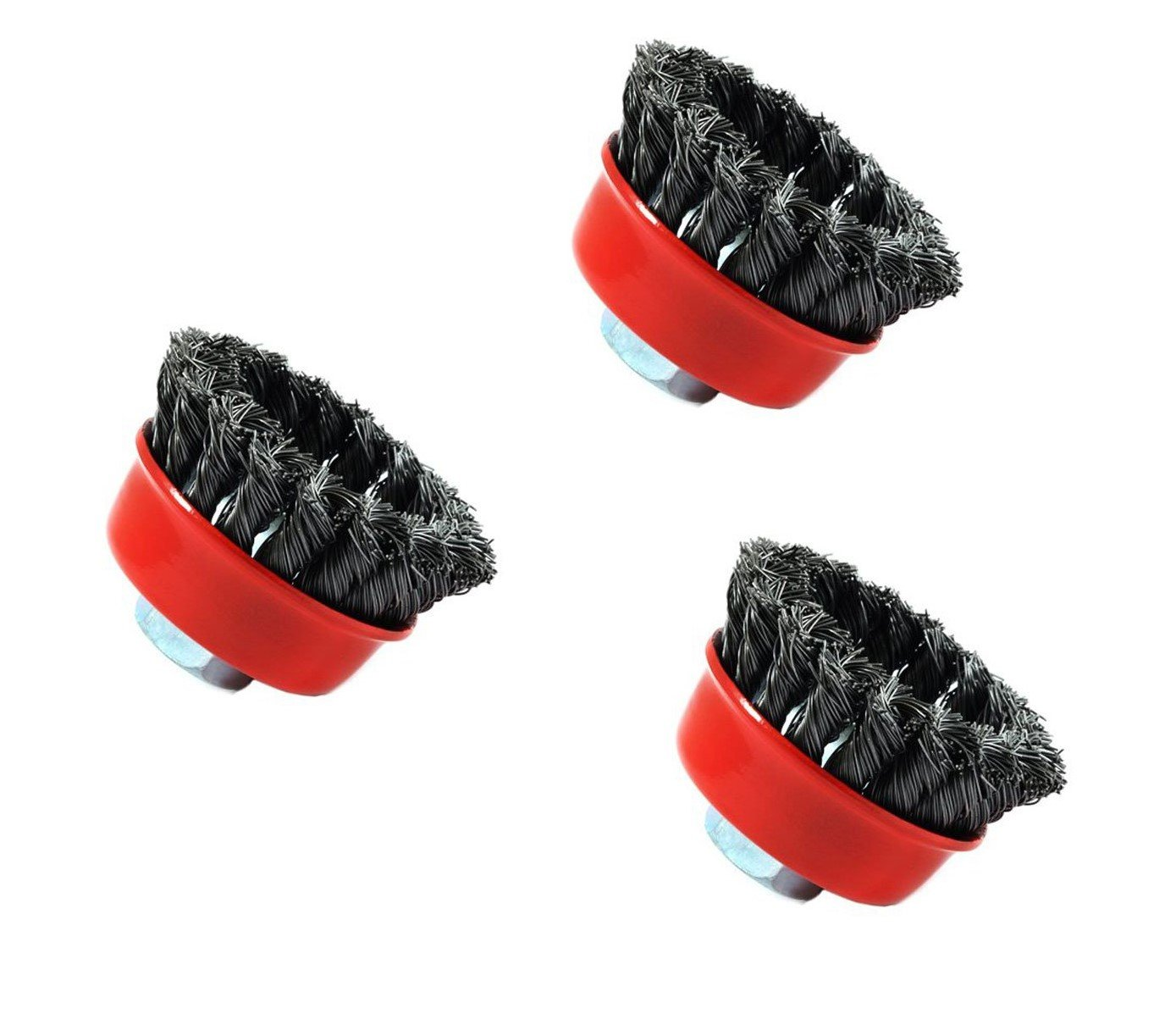 Forney 72757 Wire Cup Brush, Knotted with 5/8-Inch-11 Threaded Arbor, 2-3/4-Inch-by-.020-Inch, 3 Pack
