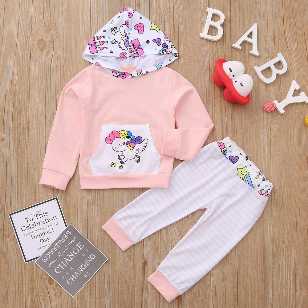 Amazon.com: Infant Toddler Kids Baby Boys Girls Hooded Cartoon Horse Printed Tops+Striped Pants Clothes Set Outfits: Clothing