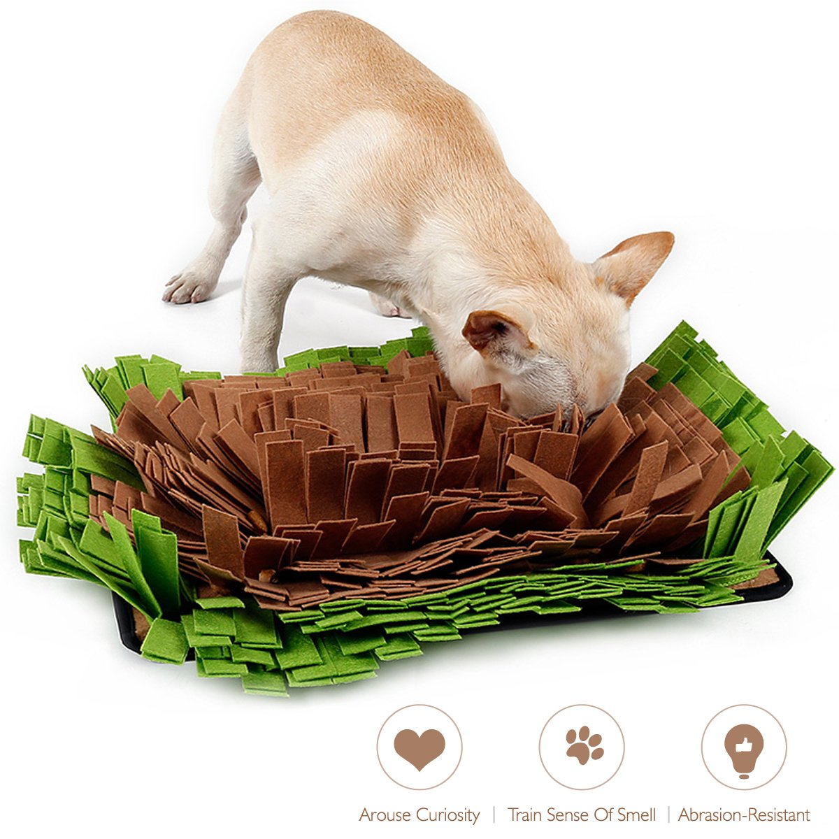 AISITIN Dog Snuffle Mat Feeding Mat,Dog Smell Training Mat Stress Release Nosework Blanket, Durable and Machine Washable Dogs Puzzle Toys, Encourages Natural Foraging Skills