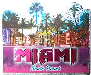 Miami Beach Colorful Foil Souvenir Magnet