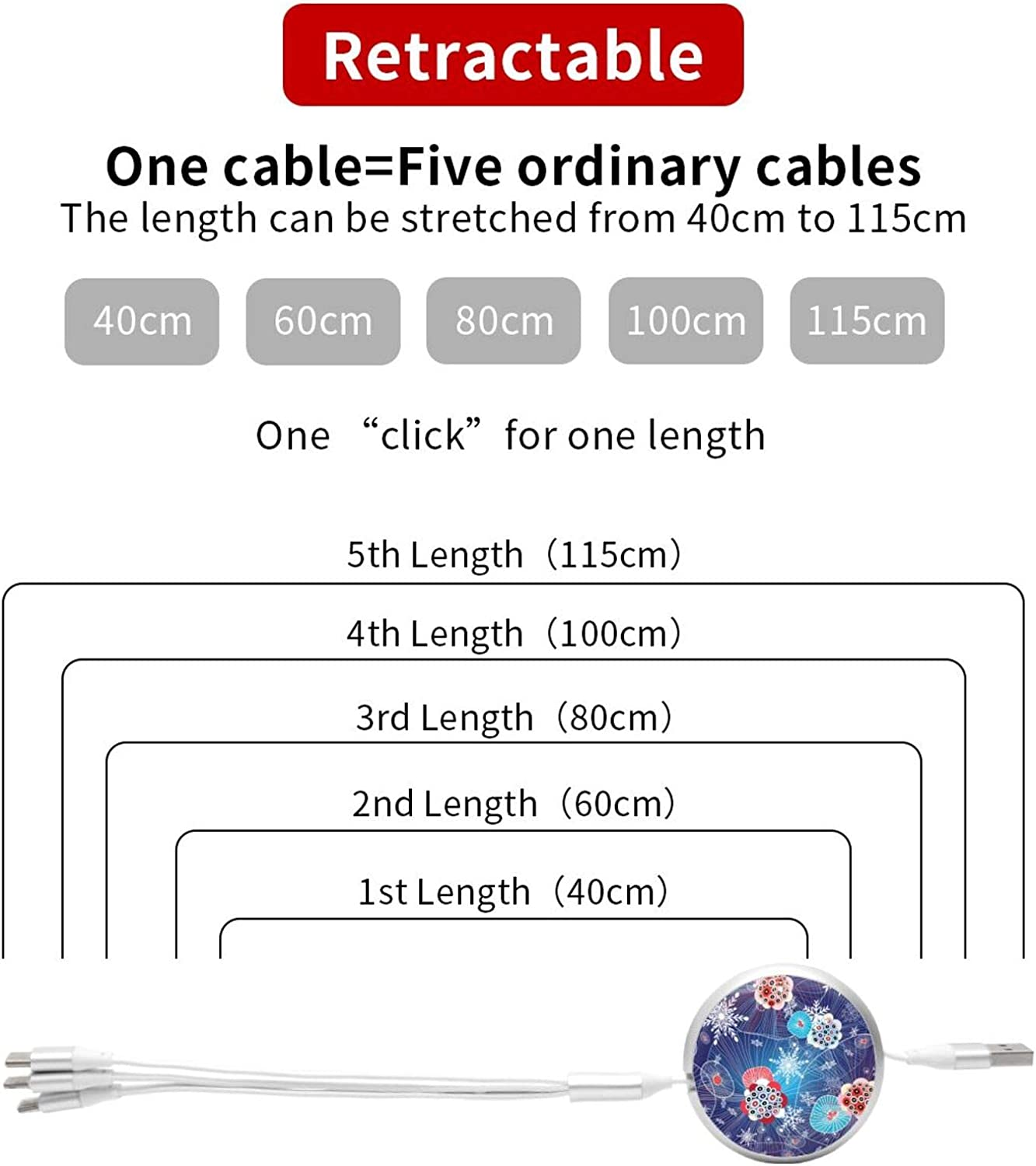 Multi Charging Cable Portable 3 in 1 Abstract Winter Pattern with Snowflakes USB Cable USB Power Cords for Cell Phone Tablets and More Devices Charging