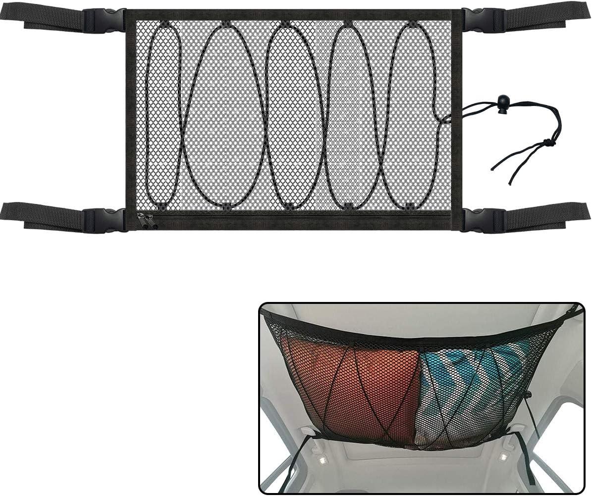 Car Ceiling Storage Net Pocket, Adjustable 2-layer Car Roof Cargo Mesh Organizer, Upgraded Drawstring Design, Durable Elastic Vehicle Sundries Storage Netting for Car SUV Truck 35.4 25.6 inch