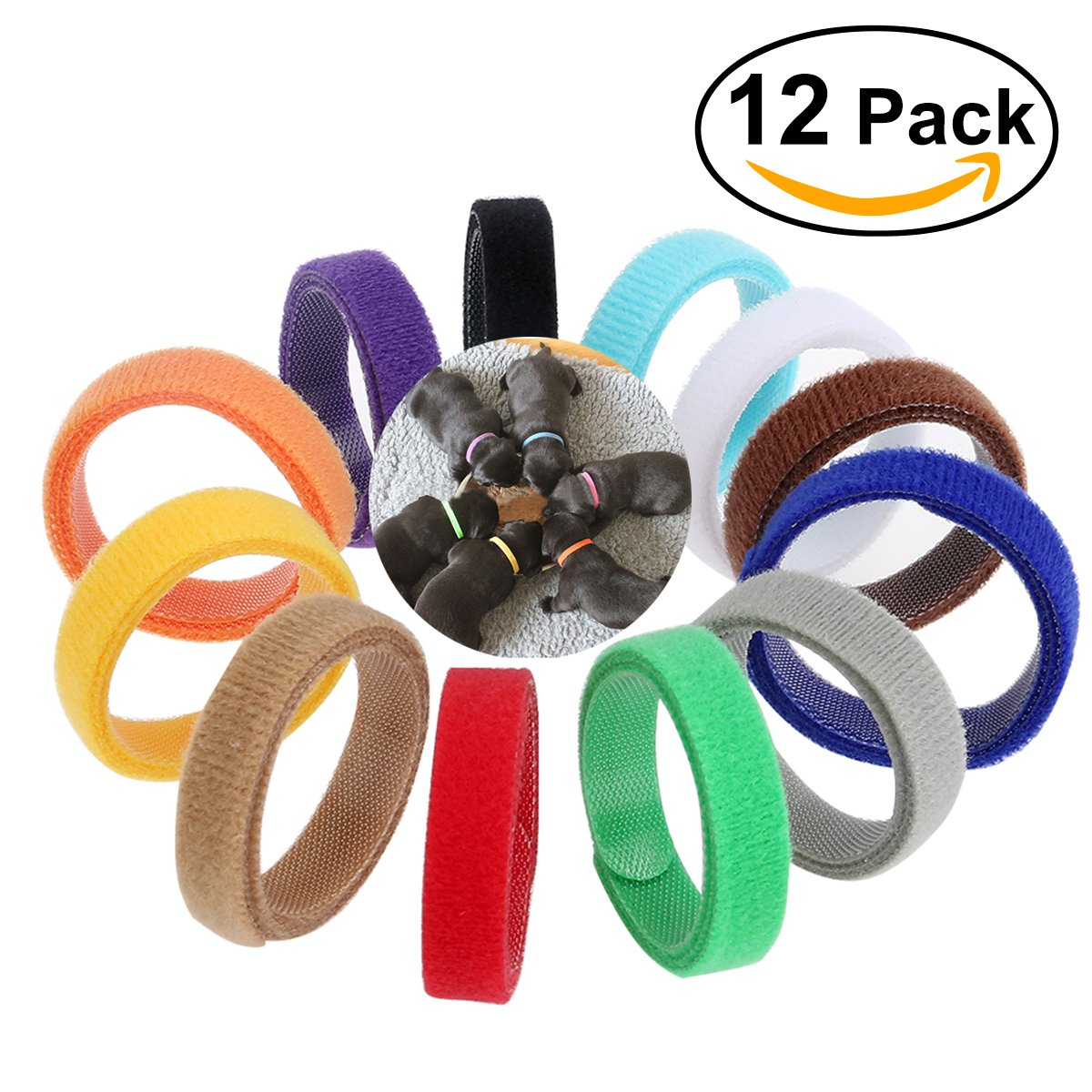 Pixnor 12 Colors Adjustable Velcro Puppy ID Bands Collars
