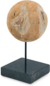 Moe's Home Collection EI-1027-24 Wood Ball On Black Marble Base Large Natural
