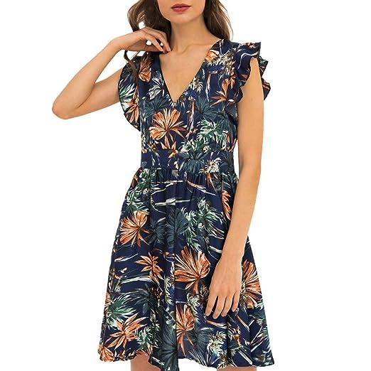 3f98b93cb69 Women s Dress V Neck Sleeveless Retro Floral Print Ruffle Pleated Flowy Hem  Dresses for Summer (