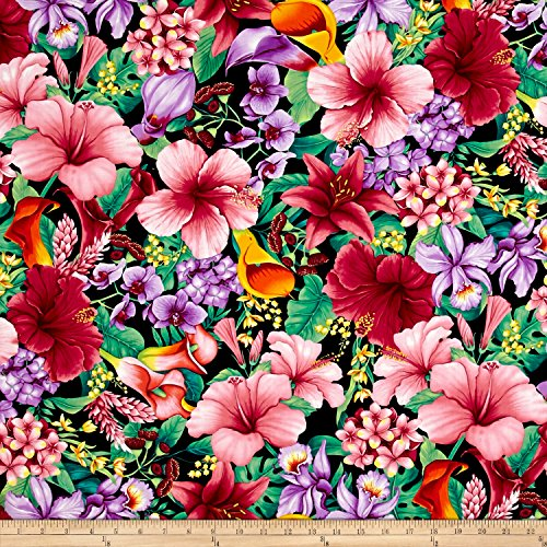 (Timeless Treasures Island Breeze Tropical Floral Tropic Fabric by The Yard)
