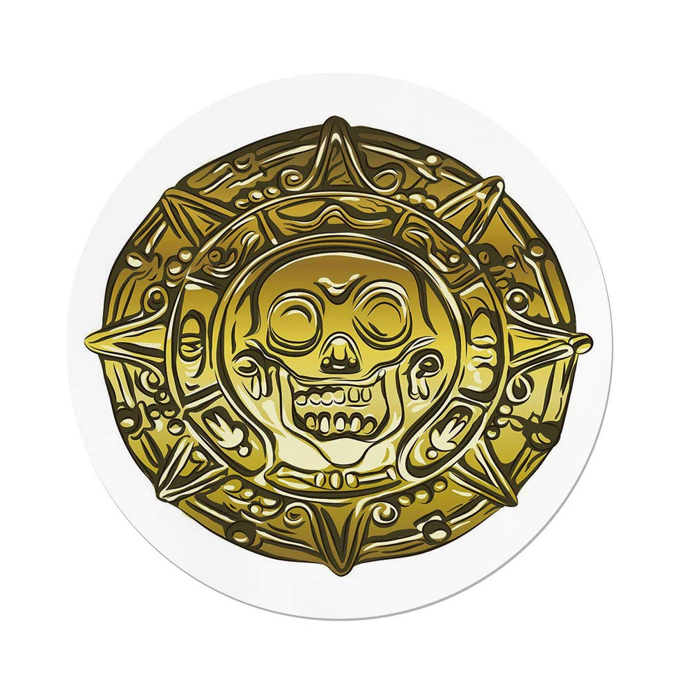 Polyester Round Tablecloth,Pirate,Gold Money Pirate Coin Medallion Scary Skull Figure Ancient Antique Currency Print Decorative,Gold White,Dining Room Kitchen Picnic Table Cloth Cover,for Outdoor Ind