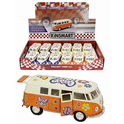 "01:32 Die Cast Volkswagen Campervan avec ""Peace and Love"" Hippy Design - Couleurs assorties - 1 Fourni"