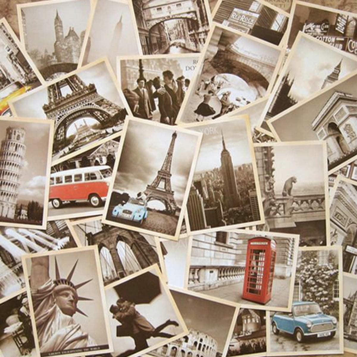 64 Pcs Vintage Retro Old Travel Postcards for Worth Collecting, Collectable Vintage Postcards Bulk Pack, 2 Set